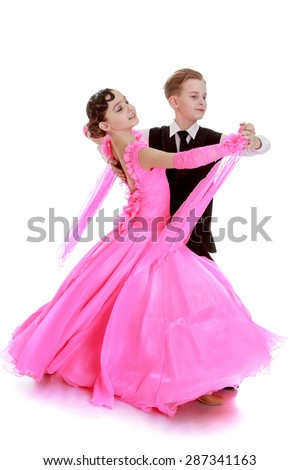 Beautiful sporting a pair of dancers in motion-isolated on white background - stock photo