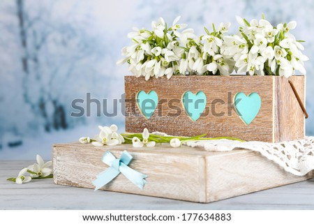 Beautiful spring composition with snowdrops  - stock photo