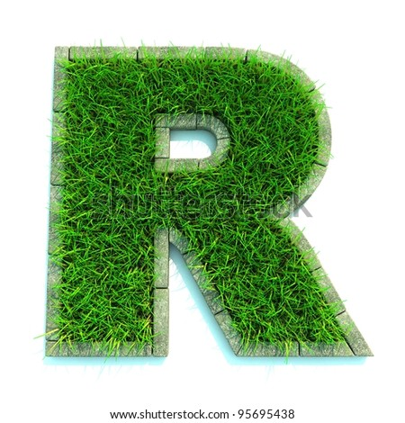 Beautiful Spring Letters and Numbers Made of Grass and Surrounded with  Border - stock photo