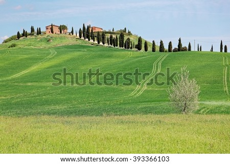 Beautiful spring scenery of a farm house standing alone on top of a rolling hill with green grass fields and cypress trees under clear sunny sky in Val d'Orcia, Tuscany Italy - stock photo