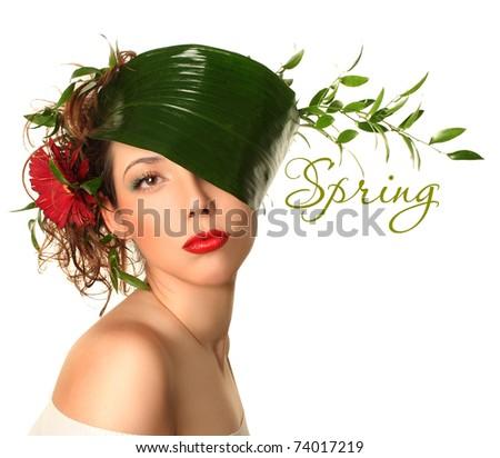beautiful spring-woman on white background - stock photo