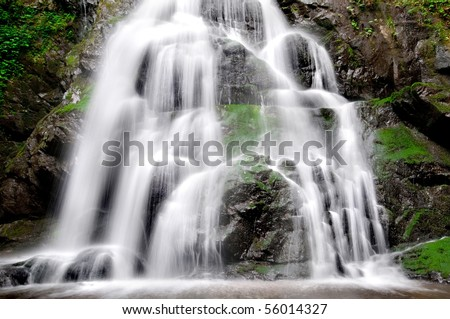 Beautiful Spruce Flat Falls in Great Smoky Mountains National Park after the spring rains - stock photo