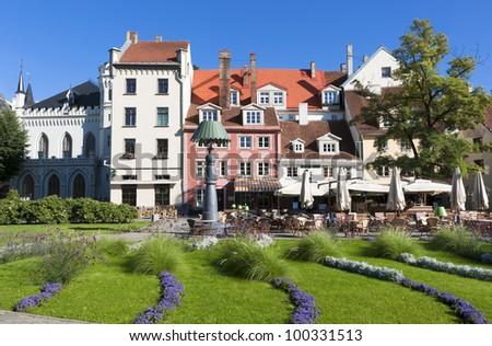 Beautiful square in old city of Riga, capital of Latvian republic, Europe - stock photo