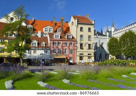 Beautiful square in the center city of Riga, Latvia. In 2014, Riga is the European capital of culture. - stock photo