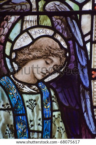 Beautiful stained glass window detail of Saint Peter - stock photo