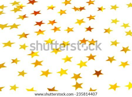 Beautiful starry background, many little golden stars on white background, traditional Christmas decoration, festive shiny wallpaper - stock photo