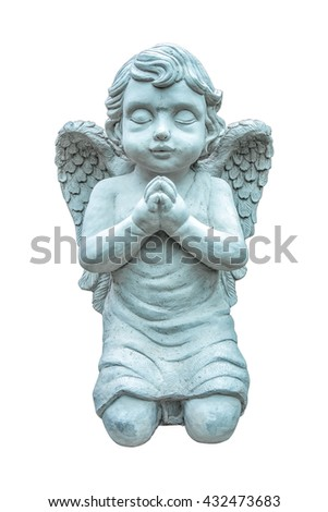 Beautiful statue of the angel praying isolated on white background.Angel sculpture - stock photo