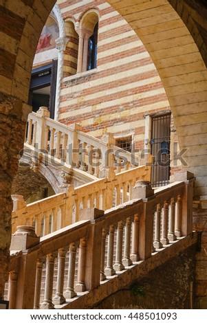 Beautiful steps at Palazzo del Mercato Vecchio in Verona Italy - stock photo