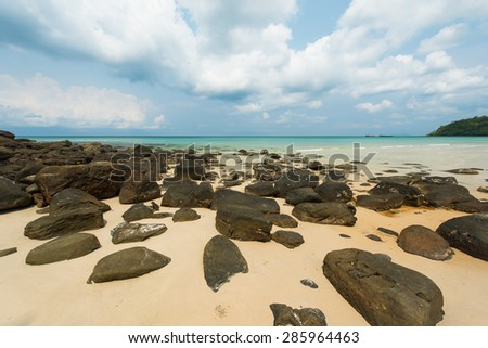 Beautiful stone beach at Koh Kood iSland , Thailand - stock photo