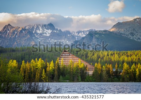 Beautiful strbske pleso - in slovakian Tatry mountains. Panorama of the lake - stock photo