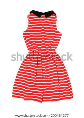 beautiful striped dress insulated on white background - stock photo