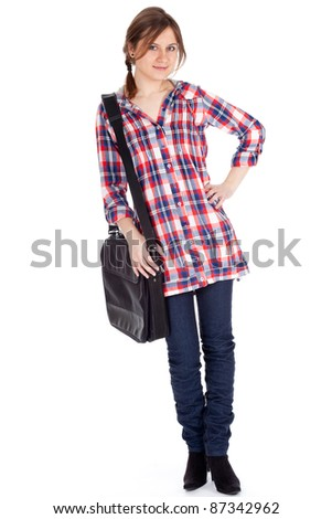beautiful student girl with laptop bag, white background - stock photo