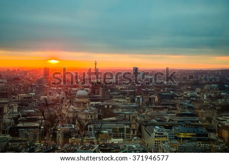 Beautiful stunning and gorgeous sunset sunrise aerial view of the city of London from the Sky Garden skyscraper. - stock photo