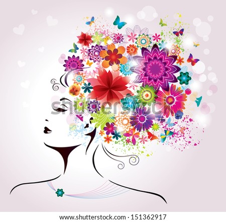 Beautiful style Woman with Flowers and Butterflies.  - stock photo