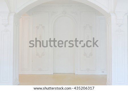 beautiful stylish chic rich clean bright blank interior. high white walls with large windows from floor the pattern on the floor - stock photo