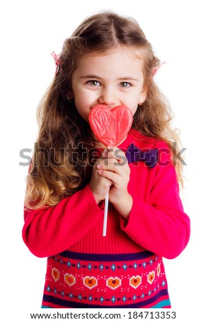 beautiful stylish girl in a red dress with lollipop hands. isolated on white background. smile, be happy, happy, close-up - stock photo