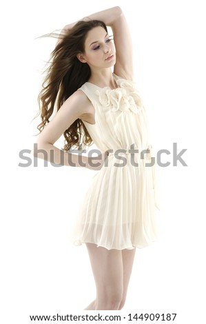 beautiful stylish girl in fashion stylish- Fashion model posing at studio - stock photo