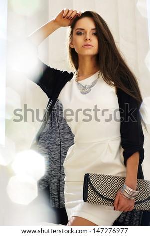 beautiful stylish girl outdoor portrait     - stock photo