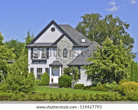 Beautiful suburban house - stock photo