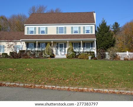 Beautiful Suburban Sunny Clear blue Sky Residential Neighborhood USA - stock photo