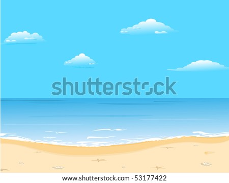 Beautiful summer background with beach - Raster - stock photo