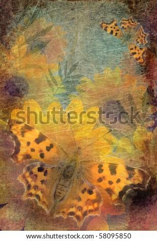 Beautiful summer background with flowers and butterflies - stock photo