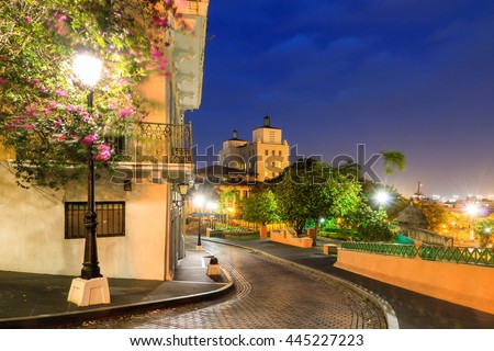Beautiful summer cityscape of old San Juan, Puerto Rico, at the blue hour at night - stock photo
