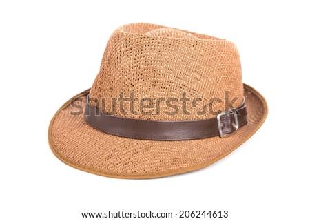 Beautiful summer hat, isolated on white - stock photo