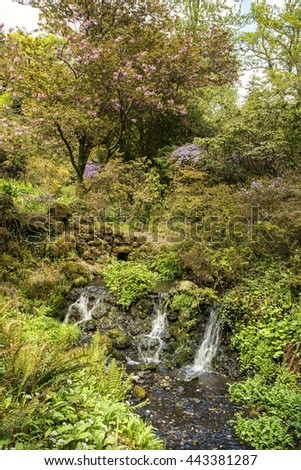 Beautiful Summer landscape image of stream flowing over rocks in waterfall in countryside - stock photo