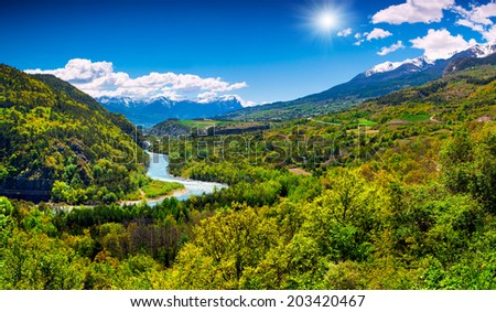 Beautiful summer landscape in the French Alps - stock photo