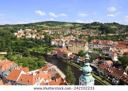 Beautiful summer landscape of the historical center of Cesky Krumlov. UNESCO World Heritage Site - stock photo