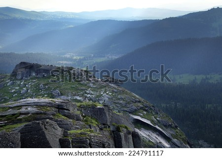beautiful summer landscape of the Western Sayan mountains Ergaki on a cloudy day - stock photo