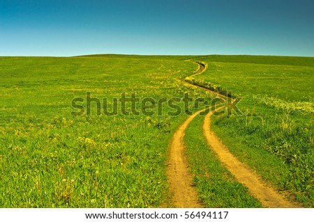 beautiful summer landscape with a field road - stock photo