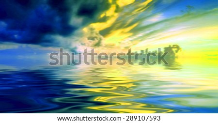 Beautiful summer landscape with birds - stock photo
