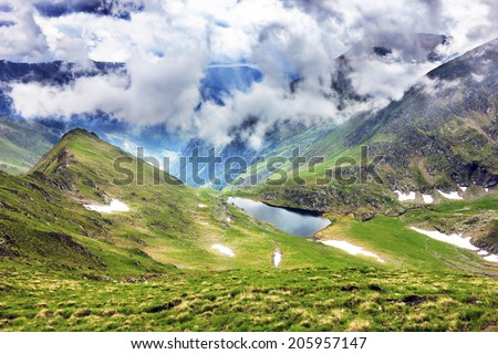 Beautiful summer landscape with Calcescu lake in Parang  mountains, Romania - stock photo