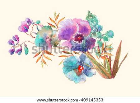 Beautiful summer meadow flowers bouquet , watercolor illustration. - stock photo