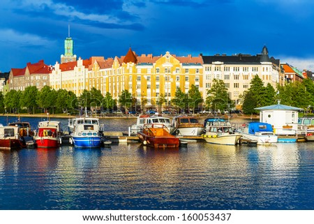 Beautiful summer scenery panorama of the Old Town pier architecture in Helsinki, Finland - stock photo