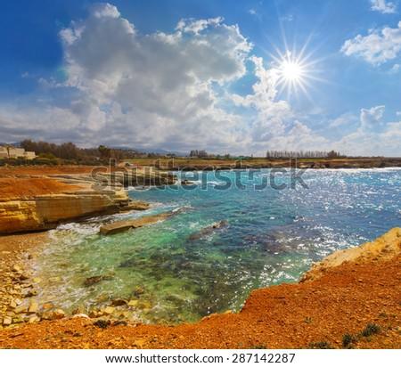 beautiful summer sea bay, cyprus - stock photo