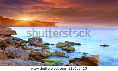 Beautiful summer seascape. Sunrise - stock photo