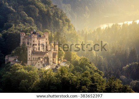 Beautiful summer sunset view of the Hohenschwangau castle at Fussen Bavaria, Germany - stock photo