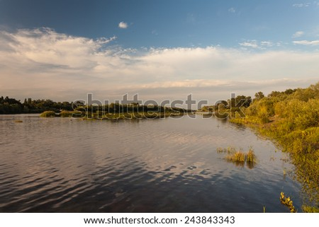Beautiful summer water landscape in sunbeam. Ukraine - stock photo