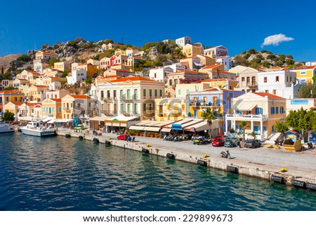 Beautiful summers day on the Greek island of Symi in the Dodecanese Greece Europe - stock photo