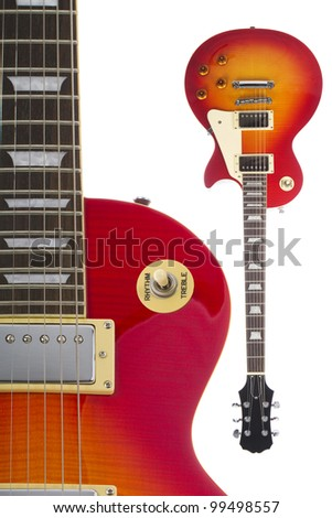 Beautiful sunburst electric guitar isolated on white background both close up and full view - stock photo