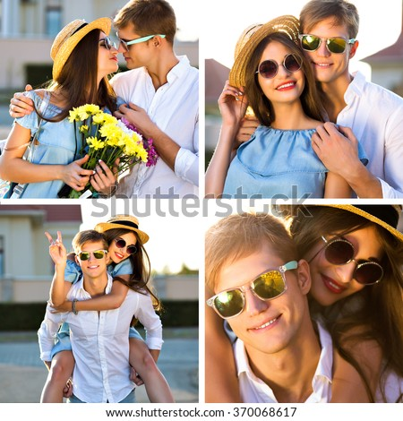Beautiful sunny collage of young hipster travelers couple in love, hits and kisses, having fun at romantic vacation date, vintage trendy fashion clothes sunglasses, family set, valentines day. - stock photo