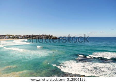 Beautiful sunny day at Bondi Beach, Sydney, Australia. - stock photo