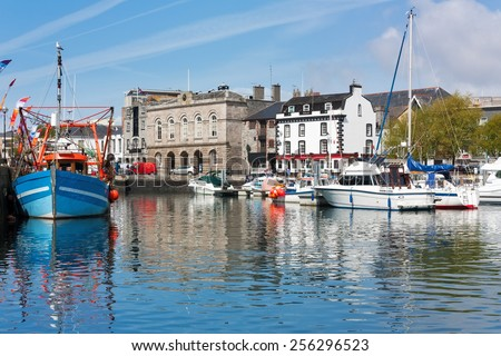 Beautiful sunny day at the harbour in the Barbican area of Plymouth Devon England UK - stock photo