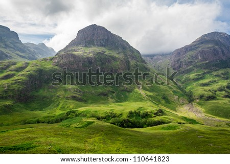 Beautiful sunny day in the highlands - stock photo