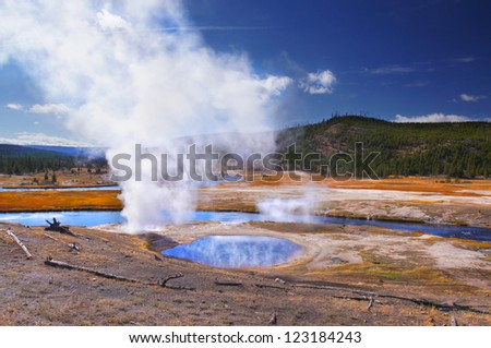 Beautiful sunny day in Yellowstone National Park, Wyoming - stock photo