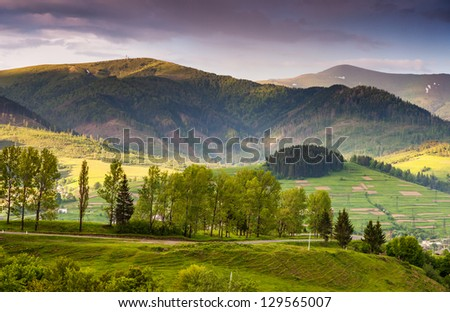 Beautiful sunny day is in mountain landscape. Carpathian, Ukraine, Europe. - stock photo
