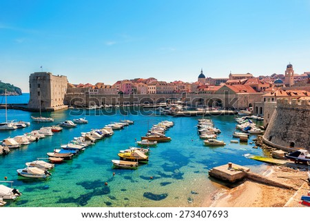 Beautiful sunny day over the bay in front of old town of Dubrovnik - stock photo